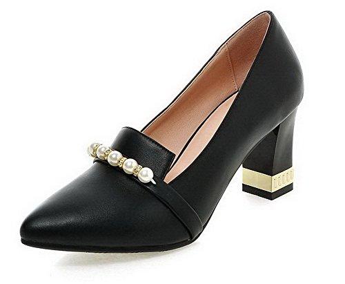 Damen Blend-Materialien Spitz Zehe Mittler Ziehen auf Pumps Schuhe, Schwarz, 41 VogueZone009