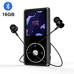 16GB MP3-Player mit Bluetooth 4.0 Tragbarer Audio Musik-Player mit FM-Radio Video Sprachrekorder mit Kopfhörer zum Betreiben mit erweiterbaren bis zu 128GB (Black)