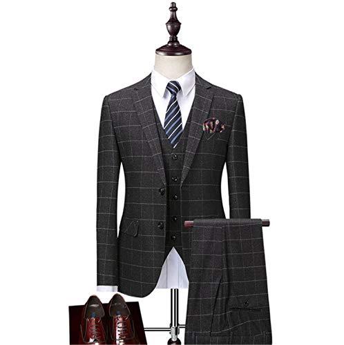 Plaid Vintage-anzug (UNIQUE-F Herren Slim Einreiher Grau Plaid Anzug Formelle Klassische Vintage Textur Exquisite Reiche Bequeme Atmungsaktive Geschäftshochzeit M)