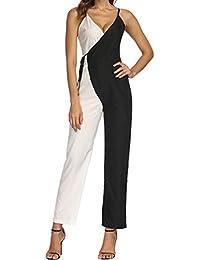 Tuta Donna Jumpsuit Abiti Donna Eleganti Tuta Donne Ragazze Colore Matching  Senza Maniche Tuta Casual Clubwear eeabab7acbf