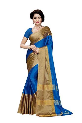 Vatsla Enterprise Women's Silk Saree With Blouse Piece (Vscdnpyshlovender005_Blue)