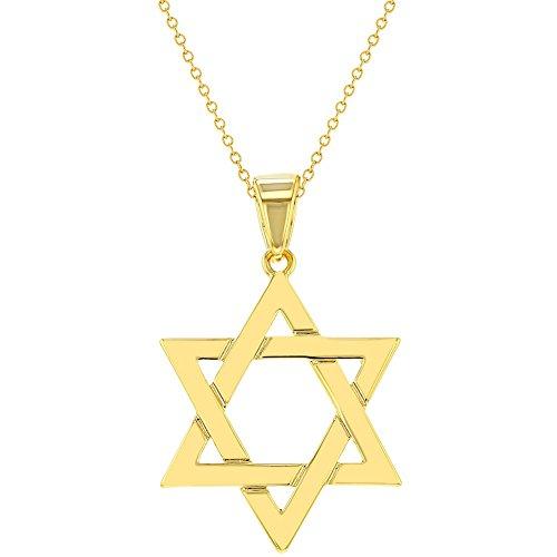 In Season Jewelry - Halskette Stern von David Religiöses Judentum Jüdischer 18k Vergoldet 45cm