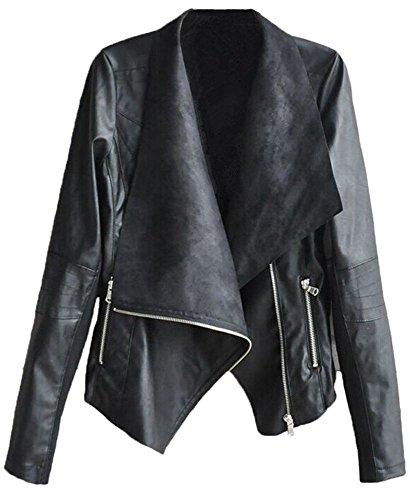 OMUUTR Damen Kurz Bikerjacke Reißverschluss Faux Lederjacke Bikers StilGroßer Reverskragen Vintage Rock Beiläufig Freizeit Jacke Outwear Large