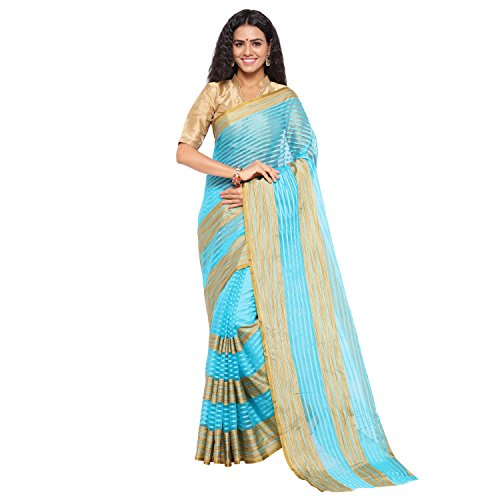 sarvagny clothing art silk blue color daily wear party wear saree with...