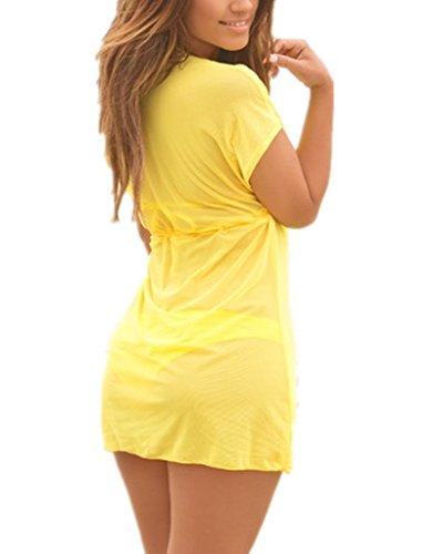 Damen durchsichtig weich außerhalb Kittel Strandrock Bikini Kittel Strandkleid weiss/schwarz/blau/rosa/lila/gelb Gr.34-44 06 gelb