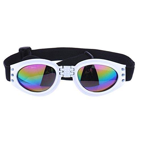 Kaisir Mascotas perro gato protector UV gafas de sol plegables lentes ojo desgaste protección con correa ajustable (blanco)