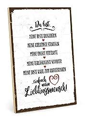 TypeStoff Holzschild mit Spruch - DU BIST Mein LIEBLINGSMENSCH - im Vintage-Look mit Zitat als Geschenk und Dekoration zum Thema Freundschaft, Vertrauen und Geborgenheit (M - 19,5 x 28,2 cm)