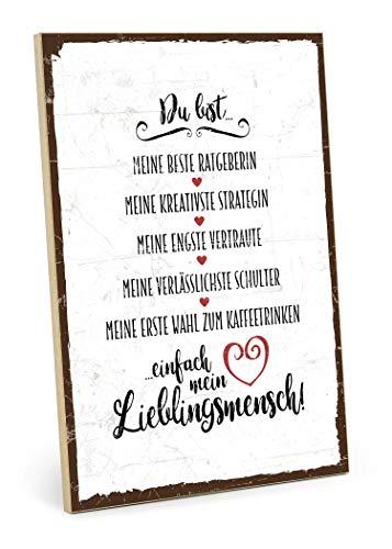 TypeStoff Holzschild mit Spruch - DU BIST Mein LIEBLINGSMENSCH - im Vintage-Look mit Zitat als Geschenk und Dekoration zum Thema Freundschaft, Vertrauen und Geborgenheit (M - 19,5 x 28,2 cm) -