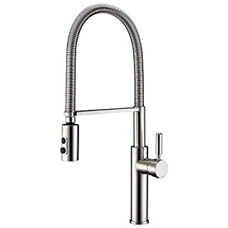 Avola Single Handle Tall Body Pull Down Kitchen Sink Mixer Tap Monobloc Solid Brass Construction High Arch Stainless Steel Swivel Spring Spout Dual Functional Nozzle
