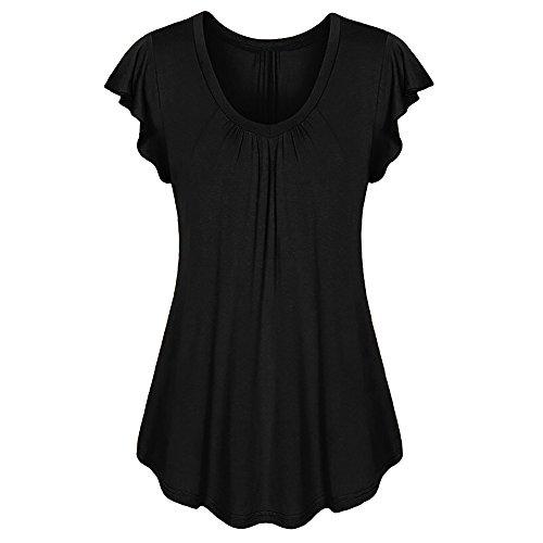 dhals Geripptes Sleeve Casual Falten Kurzarm T-Shirt mit Stretch Top(B1-Schwarz,EU-44/CN-XL) ()