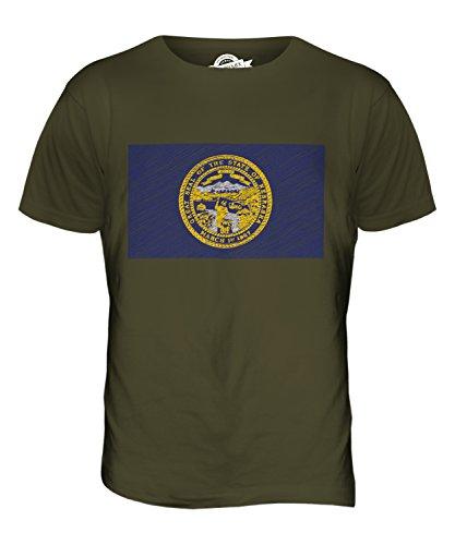 CandyMix Bundesstaat Nebraska Kritzelte Flagge Herren T Shirt Khaki Grün