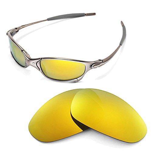 Walleva Ersatzgläser für Oakley Juliet Sonnenbrille - Mehrfache Optionen (24K Gold Mirror Coated - Polarisiert)