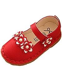 Ahatech Niñas Zapatos de Cuero ZapatillasPlana Antideslizante Zapatos de Niñas Flor Mary Jane Escolares