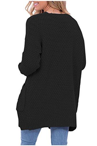 Issza Cardigan Femme Casual longue en Maille Manches Longues Gilets Torsadé Tricot Chandail Cardigans Noir