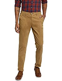 RUF & TUF Solid Beige Coloured Cotton Blend Trouser