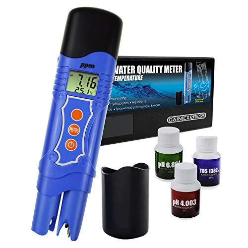 Gain Express 3-in-1 pH/TDS/Temperatur-Messgerät Combo Wasserqualität Tester Digital Pen-Type mit ATC 0.00~14.00pH 0~1999mg / l (ppm) für Laboratories, Hydroponik, Aquarien, Pool, Spa -