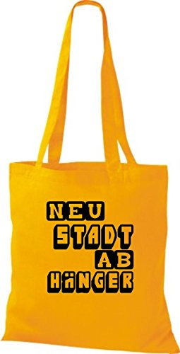 Shirtstown Stoffbeutel lustige Sprüche Neustadt Abhänger viele Farben goldgelb