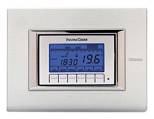 Fantini Cosmi CH141A Cronotermostato Settimanale da Incasso a Batterie, Bianco/Silver/Antracit