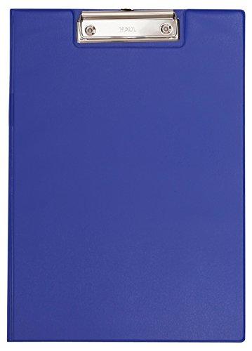 Maul Schreibmappe mit Folienüberzug, Aufklappbares Klemmbrett, Innentasche, Größe A4 hoch, Blau, 2339237, 1 Stück