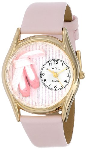 Whimsical Watches Unisex-Armbanduhr Ballet Shoes Pink Leather And Goldtone Watch #C0510005 Analog Leder mehrfarbig C-0510005