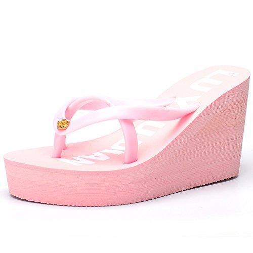 Estate Sandali Pantofole alti talloni estate Pantofola femminile Beach donna Pantofole spesse Colore / formato facoltativo Light Pink