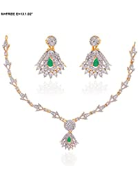 Florishkart Emerald & Cz Stone Studded Gold And Rhodium Plated Necklace Set