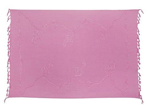 Sarong Pareo Wickelrock Strandtuch Lunghi Stickerei Tuch Schlicht Uni Rosa