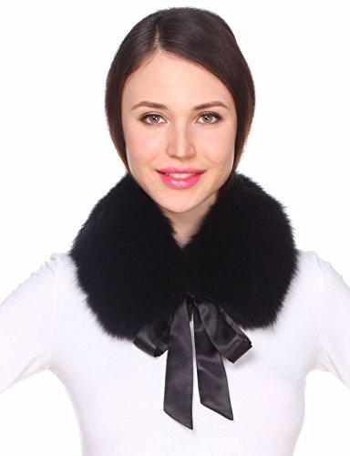 Ferand collo di pelliccia di volpe autentica con nastro di raso per donna - nero