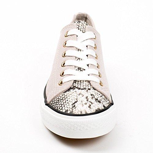 Ideal Shoes, Damen Sneaker Beige