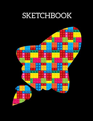 SKETCHBOOK: The Unofficial Lego Blocks Spaceship Rocket Sketchbook for Kids, Large Unlined Blank Notebook