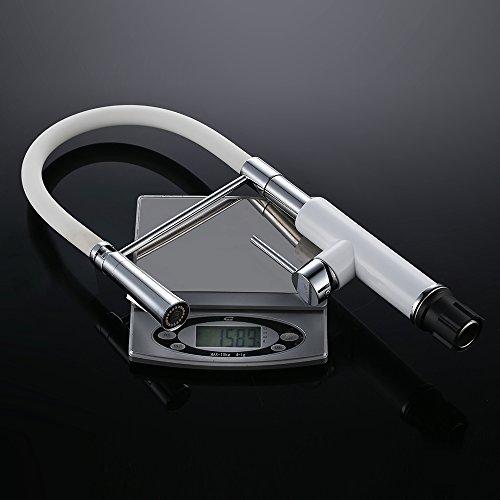 Homelody – Spültischbatterie mit flexibler Spiralfeder, herausziehbar, hoher Auslauf, Weiß-Chrom - 5