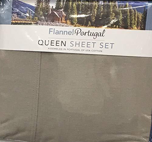 Flannel Portugal Flanell-Bettwäsche-Set für Queen, aus 100% USA-Baumwolle, 4-teilig beige (Flanell Sheet Set Queen)