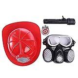 Likeluk Feuerwehr Ausrüstung Set 4-Teiliges Feueranzug Werkzeug mit Helm Gasmaske für Kinder Feuerwehr Rollenspiel Spielzeug