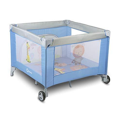 Lionelo Stella Reisebett, Laufstall für Baby, ab Geburt bis zum 15 kg, Tragetasche, Moskitonetz (BLUE ANIMALS)