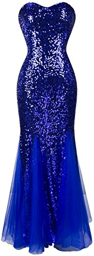 Angel-fashions Damen Padding armel blau Pailletten Tull Abendkleid Medium blau -