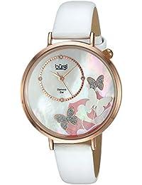 Burgi Reloj de cuarzo para mujer con Madre de Pearl Esfera Analógica Pantalla y Correa de piel color blanco bur158wtr