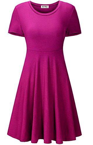 KorMei Damen Kurzarm Rundhals Stretch Skaterkleid Sommerkleid Fattern Basic A-Line Kleider Violettrot S (Heiße Cocktail Mini Party)