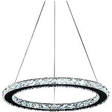 Lonfenner Lámpara de techo de cristales brillantes, en acero inoxidable con 3 líneas (30cm)