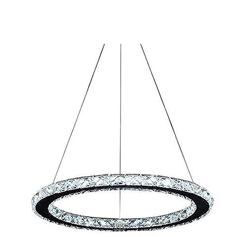 Lonfenner Lustres en cristal lustre salon moderne en acier inoxydable a conduit 3 ligne chambre simple plafond lampe cristal lustre lustre restaurant Crystal (30cm) , Cool white Light