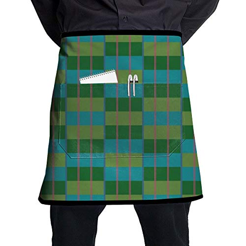 Cavdwa Moquette - Aqua Green Half-Length Apron with Pocket for Cooking and Baking Handmade Gardening Barbecue,21.3