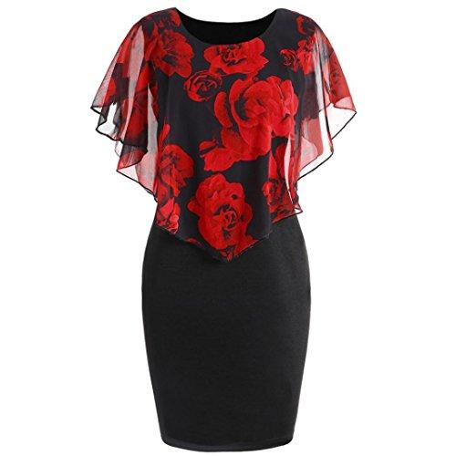 Damen Lässige Mode Plus Size Rose Print Chiffon O-Ausschnitt Rüschen Mini Sommerkleid Frau Geschenk (L, Rot) (2017 Plus Size Kostüme)