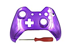 Kobwa Replacement Housing Front Shell Case Cover With Screwdriver Set For Xbox One Controller, Chrome Purple