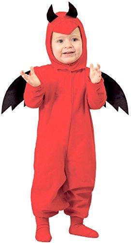 Imagen de bebé niña niño rojo con cuernos diablo bonito halloween horror miedo carnaval disfraz 6 24 meses  12 24 months