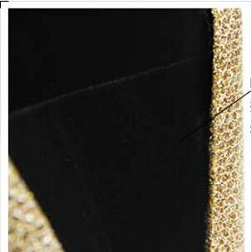 DHFUD Damen PU Dinner Bag Handtasche Schnalle Oval Hard Box Mode Gold