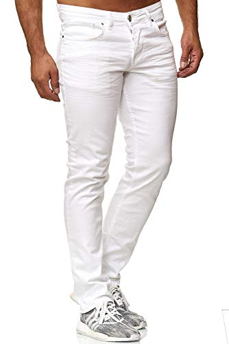 Tazzio Slim Fit Herren Styler Look Stretch Jeans Hose Denim 16533 (38/32, Weiss) - Jeans Weiße Hose