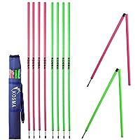 Kosma - Lote de 10 postes de entrenamiento de velocidad, 1,5 m x 25 mm (plegables) con pico de metal - Color: 5 unidades cada rosa, verde | Agility Football Training Posts en bolsa de transporte