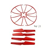 HB HOMEBOAT® Syma X5SW X5SC X5C-1 X5C Spare Parts 4pcs Propellers & 4pcs Protector Guards Included 8pcs Mounting Screws for RC Mini Quadcopter Toy - Red