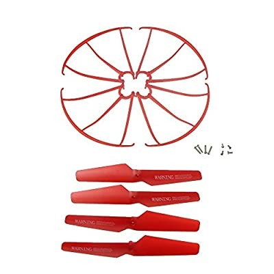 HB HOMEBOAT® Syma X5SW X5SC X5C-1 X5C Spare Parts 4pcs Propellers & 4pcs Protector Guards Included 8pcs Mounting Screws for RC Mini Quadcopter Toy - Red by MakingDay