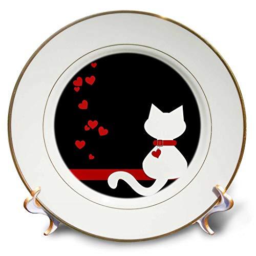3dRose CP 164792_ 1Tierliebhaber rot Herzen weiß Kitty cat-Porcelain Teller, 20,3cm