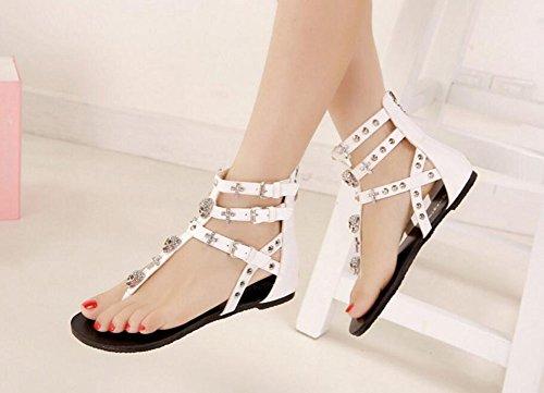 Wealsex Sandales Plates Flip string Cross Creux Sandales Plates Flop Strass Casuel Chaussure Été Plage Fête Voyage Vacances Noir Blanc Femme Blanc